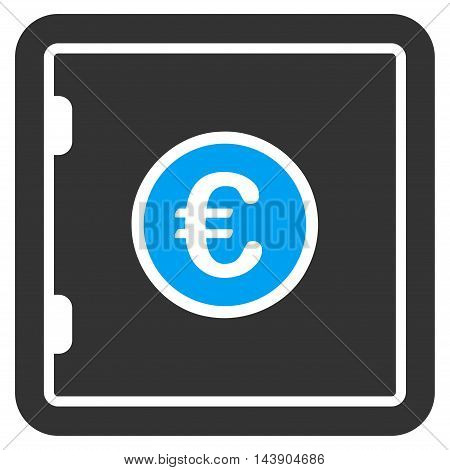 Euro Safe icon. Vector style is bicolor flat iconic symbol with rounded angles, blue and gray colors, white background.