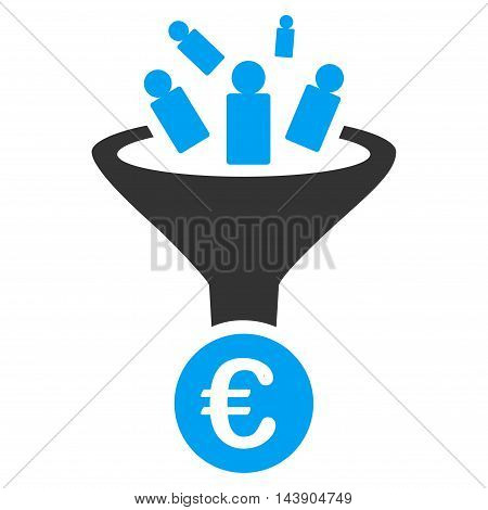 Euro Sale Conversion icon. Vector style is bicolor flat iconic symbol with rounded angles, blue and gray colors, white background.