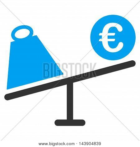 Euro Trade Swing icon. Vector style is bicolor flat iconic symbol with rounded angles, blue and gray colors, white background.