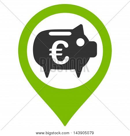 Euro Bank Pointer icon. Vector style is bicolor flat iconic symbol with rounded angles, eco green and gray colors, white background.