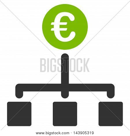 Euro Cash Flow icon. Vector style is bicolor flat iconic symbol with rounded angles, eco green and gray colors, white background.
