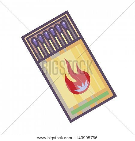 Matchbox with matches. Vector Illustration. Isolated on white.