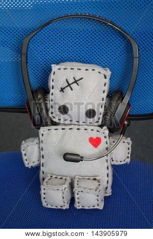 Soft Lonely Robot Toy With Heart at Call Center.