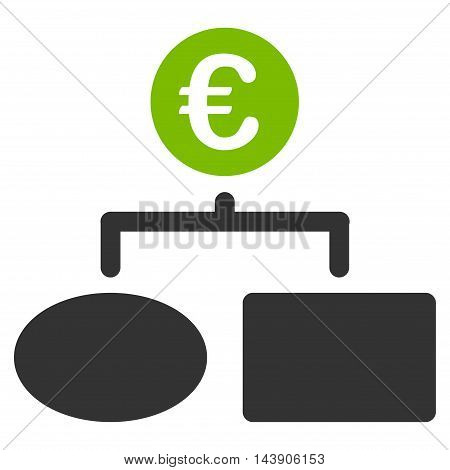 Euro Flow Chart icon. Vector style is bicolor flat iconic symbol with rounded angles, eco green and gray colors, white background.