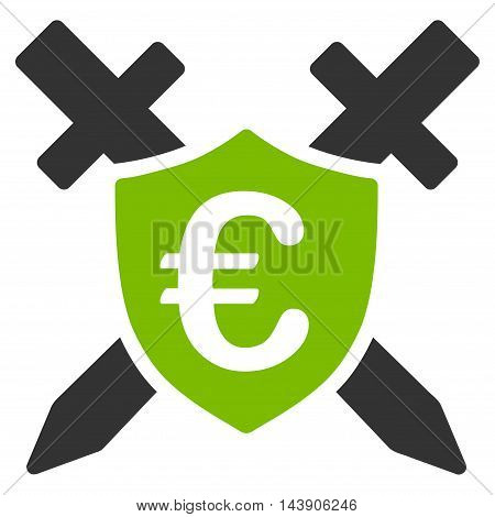 Euro Guard Shield icon. Vector style is bicolor flat iconic symbol with rounded angles, eco green and gray colors, white background.