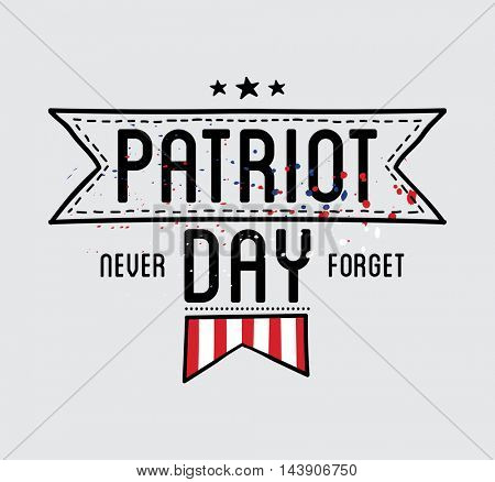 Patriot day vector label or banner. September 11. 911. Vector Illustration.