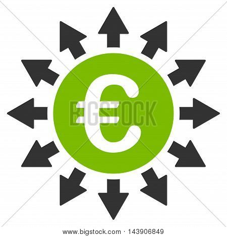 Euro Payments icon. Vector style is bicolor flat iconic symbol with rounded angles, eco green and gray colors, white background.