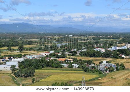 Aerial View Of Southeast Asia Rural Village