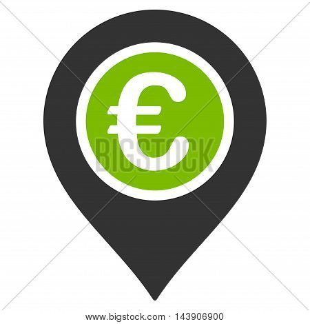 Euro Pointer icon. Vector style is bicolor flat iconic symbol with rounded angles, eco green and gray colors, white background.