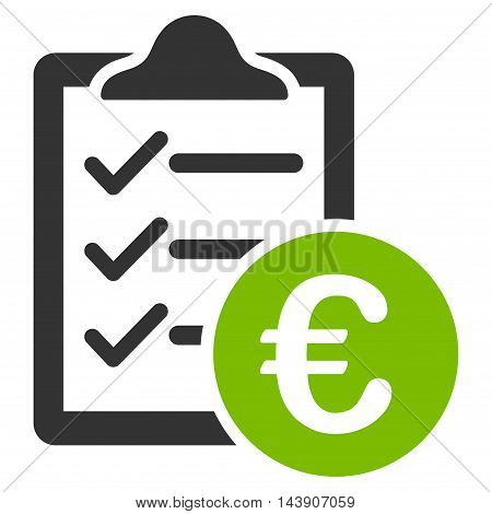 Euro Purchase Pad icon. Vector style is bicolor flat iconic symbol with rounded angles, eco green and gray colors, white background.