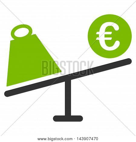 Euro Trade Swing icon. Vector style is bicolor flat iconic symbol with rounded angles, eco green and gray colors, white background.