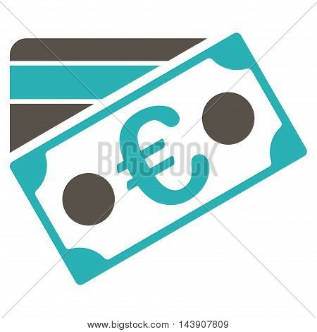 Euro Banknote and Credit Card icon. Vector style is bicolor flat iconic symbol with rounded angles, grey and cyan colors, white background.