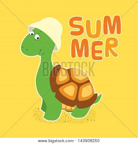 Vector colorful illustration in childish style. Cartoon cute little turtle in a creamy bucket hat standing looking friendly and smiling. White outline. Square format sand yellow background with word