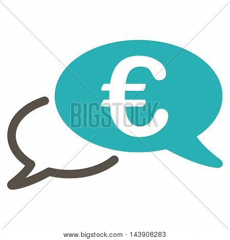 Euro Chat icon. Vector style is bicolor flat iconic symbol with rounded angles, grey and cyan colors, white background.