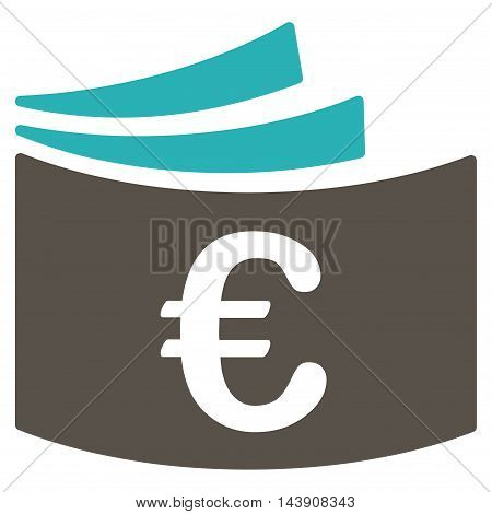 Euro Checkbook icon. Vector style is bicolor flat iconic symbol with rounded angles, grey and cyan colors, white background.