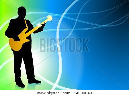 Live Bass Musician on Abstract Light Background Original Vector Illustration