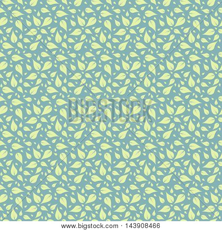 Decorative template texture with green leaves. Stylized leaf pattern.