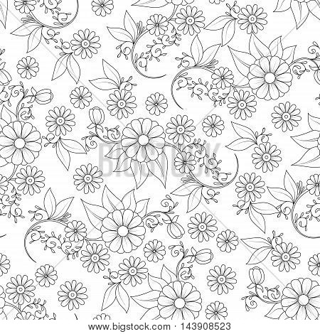 Seamless  Pattern With Doodle Flower And Leaf. Textile, Backdrop, Cover, Wrapper.