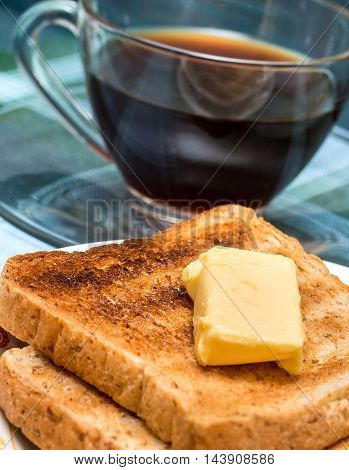 Breakfast Butter Toast Indicates Toasted Bread And Black
