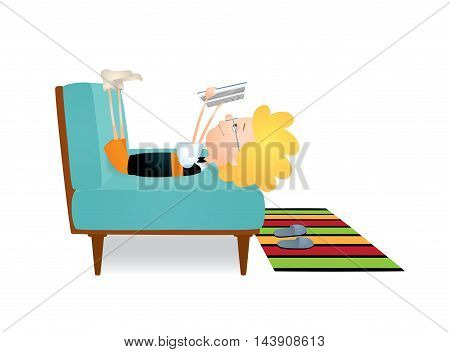 Vector colorful illustration of a blond boy lying on a blue sofa in funny pose with his legs up and reading a book. The boy has eyeglasses and bow tie. Isolated on white.