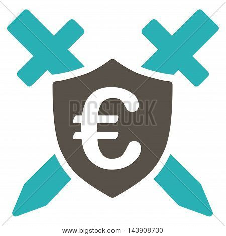 Euro Guard Shield icon. Vector style is bicolor flat iconic symbol with rounded angles, grey and cyan colors, white background.