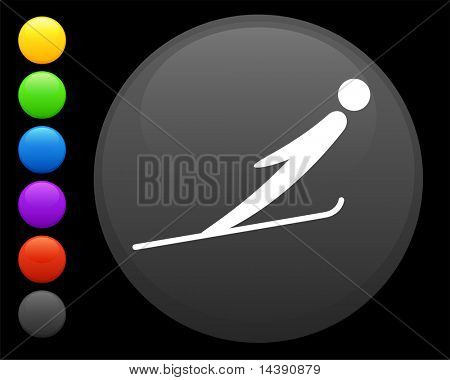 ski jumping icon on round internet button original vector illustration 6 color versions included
