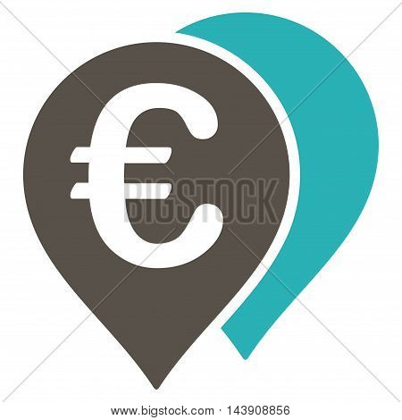 Euro Map Markers icon. Vector style is bicolor flat iconic symbol with rounded angles, grey and cyan colors, white background.