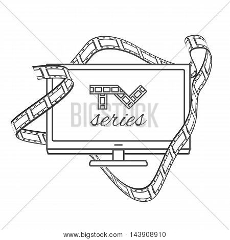 Isolated TV series thin lined outline icon. Vector outlined concept with logo of television series shown on flat panel TV and cinema film in black and white contours.