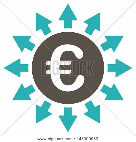 Euro Payments icon. Vector style is bicolor flat iconic symbol with rounded angles, grey and cyan colors, white background.