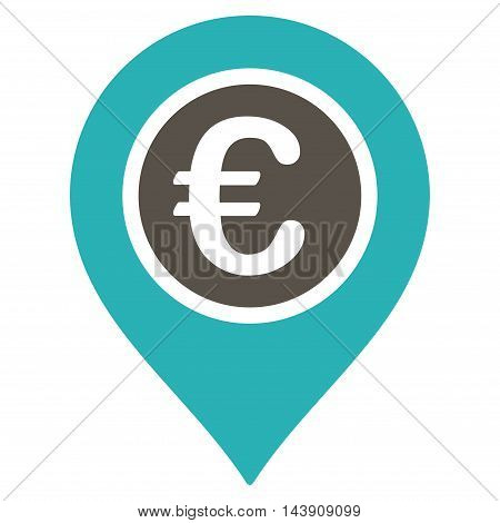 Euro Pointer icon. Vector style is bicolor flat iconic symbol with rounded angles, grey and cyan colors, white background.