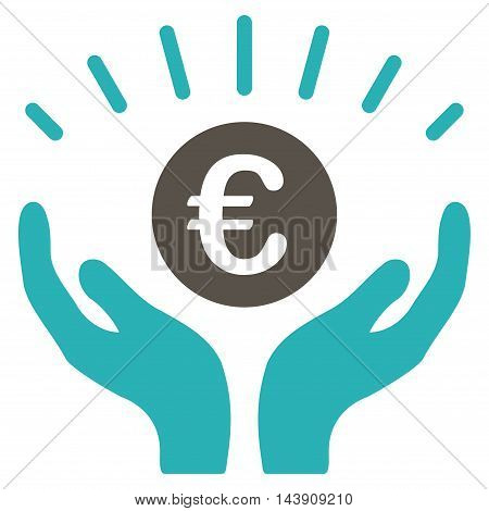 Euro Prosperity icon. Vector style is bicolor flat iconic symbol with rounded angles, grey and cyan colors, white background.