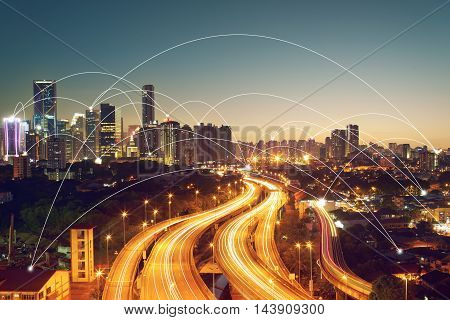 city scape and network connection concept Image ID:411942079
