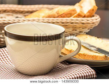 Breakfast Black Coffee Indicates Meal Time And Bread