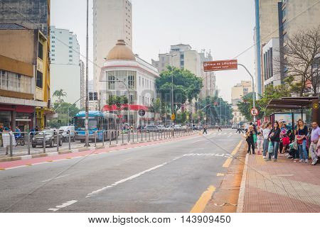 Sao Paulo - May 07, 2016: The Entrance To Liberdade Is Marked By A Nine-meter Tall Red Torii (a Japa