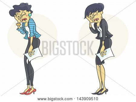 Business woman or a clerk holding her head in stress and despair because of business failure or stress at work. Set of two characters.