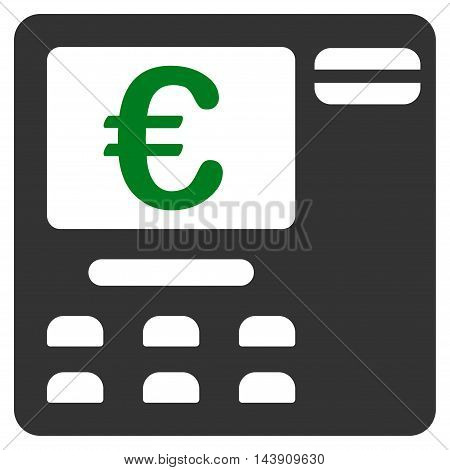Euro Atm icon. Vector style is bicolor flat iconic symbol with rounded angles, green and gray colors, white background.