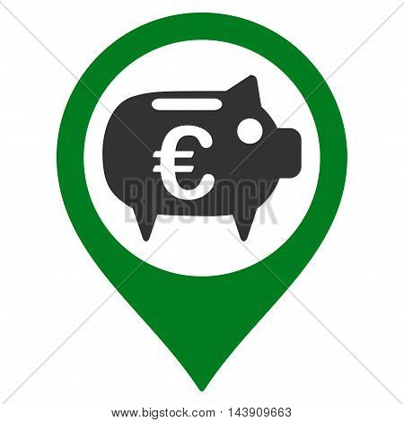Euro Bank Pointer icon. Vector style is bicolor flat iconic symbol with rounded angles, green and gray colors, white background.