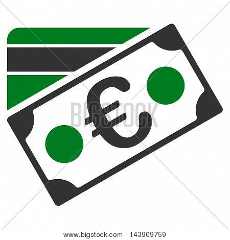Euro Banknote and Credit Card icon. Vector style is bicolor flat iconic symbol with rounded angles, green and gray colors, white background.