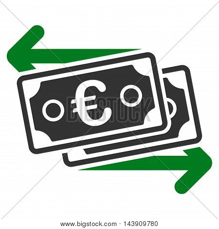 Euro Banknotes Change icon. Vector style is bicolor flat iconic symbol with rounded angles, green and gray colors, white background.
