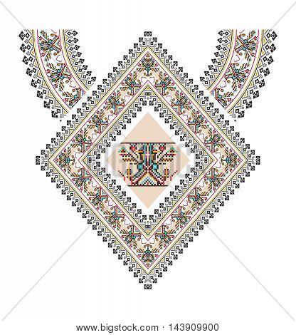 Vector aztec necklace Embroidery for fashion women. Pixel tribal pattern for print or web design. jewelry, necklace, print on fabric.