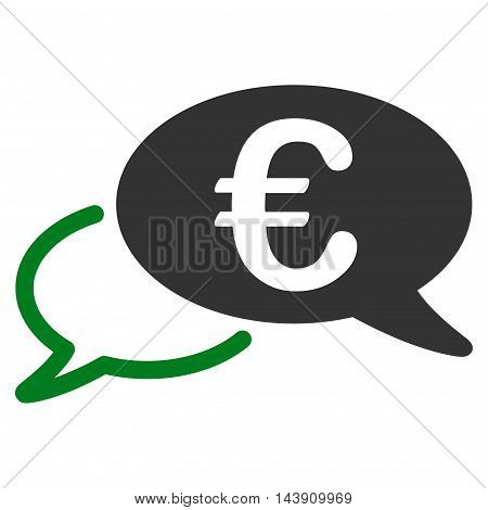 Euro Chat icon. Vector style is bicolor flat iconic symbol with rounded angles, green and gray colors, white background.