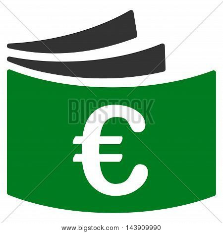 Euro Checkbook icon. Vector style is bicolor flat iconic symbol with rounded angles, green and gray colors, white background.