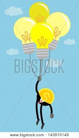 coin business man in the air by idea light bulb balloon.