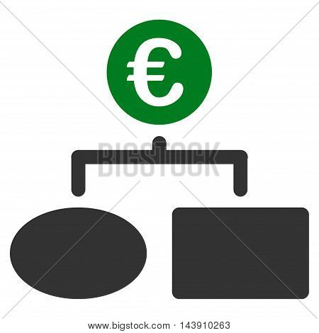 Euro Flow Chart icon. Vector style is bicolor flat iconic symbol with rounded angles, green and gray colors, white background.