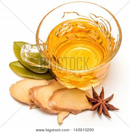 Healthy Ginger Tea Represents Cup Spices And Refreshing