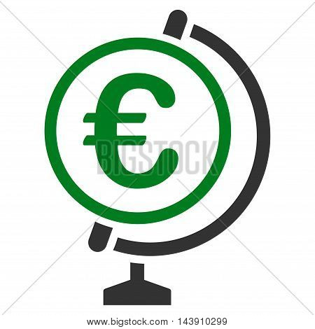 Euro Globe icon. Vector style is bicolor flat iconic symbol with rounded angles, green and gray colors, white background.