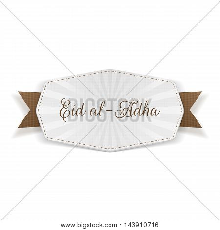 Eid al-Adha Banner with Text and Ribbon
