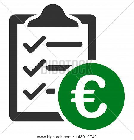 Euro Purchase Pad icon. Vector style is bicolor flat iconic symbol with rounded angles, green and gray colors, white background.