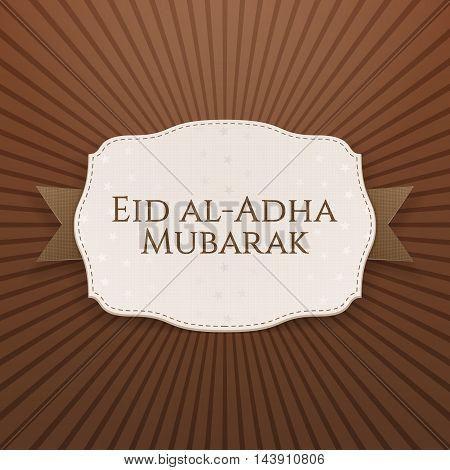 Eid al-Adha Mubarak greeting Badge on textile Ribbon