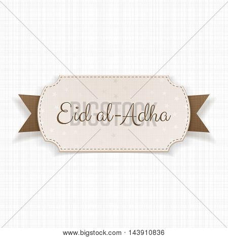 Eid al-Adha Text on paper Badge with Ribbon